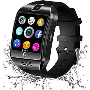 Smartwatch Bluetooth, Reloj Inteligente y Ranura para Tarjeta SIM con Rastreador de Actividad, Podómetro, Cronómetros Reloj de Fitness, Reloj Iinteligente Hombre Mujer niños Android/iOS Phone (Negro)