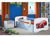 Kocot Kids Kinderbett Jugendbett 70x140 80x160 80x180 Blau mit Rausfallschutz Matratze Schublade und Lattenrost Kinderbetten für Junge - Mercedes 160 cm