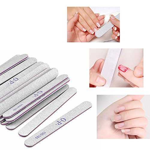 15 limas para uñas de doble cara, papel de esmeril (grano 100/180),