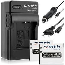 2 Batteries + Chargeur (Auto/Secteur) pour Olympus Li-50B / XZ-10... / Pentax WG-3 ... / Ricoh CX5 ... voir liste!