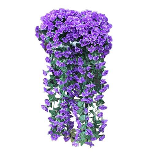 UEVOS künstliche Blumen Kunstblumen Kunstblumenstrauß Künstliche Violette Blumen-hängende Blumen-Wand-Glyzinien-Korb-hängende Girlande-Rebe blüht gefälschte Seide Dekorative Blumen Wohnaccessoires (Tulip Korb)