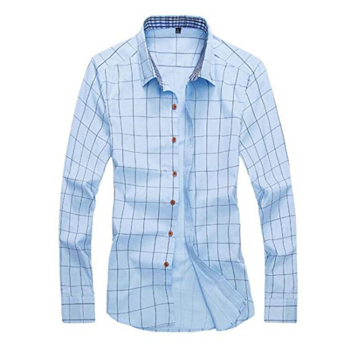 Men's Camisa Plaid Long Sleeve Cotton Slim Fit Casual Shirts Light Blue