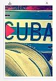Sinus Art Kunst und Deko Poster - Künstlerische Fotografie – Kuba mit Panamahut und Maracas- Fotodruck in gestochen scharfer Qualität