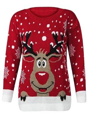 Womens Knitted Xmas Christmas Rudolf Reindeer Jumper