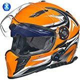 rueger-helmets RX-968 COM Bluetooth Integralhelm Motorradhelm Chopper Integral Retro Helm, Größe:M (57-58), Farbe:Orange V/RCK