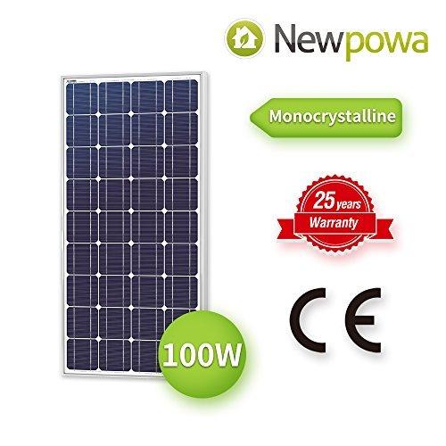 Newpowa 100 Watt Monokristallines SolarModul 100W 12V Panel Mono Solarzelle Photovoltaik für Wohnmobil Gartenhäuse Boot
