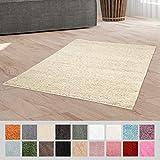 Taracarpet Hochflor Langflor Shaggy Teppich geeignet für Wohnzimmer Kinderzimmer und Schlafzimmer flauschig und pflegeleicht Creme 120x170 cm