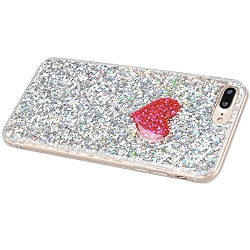 iPhone 7 Plus Hülle, Yokata Liebe Herzen Motiv Klar Transparent Durchsichtig Weich TPU Silikon Gel Glitzer Bling Case Cover mit Bumper Schutzhülle Dünne Handyhülle + 1 X Stylus Pen - Silber Silber