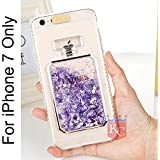 KC Perfume Bottle Case with Floating Hearts Glitter Liquid Back Cover for iPhone 7 - Purple