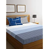 Portico Hashtag Fitted Queen Bedsheet, Blue/White, 152 X 198cm 8045626