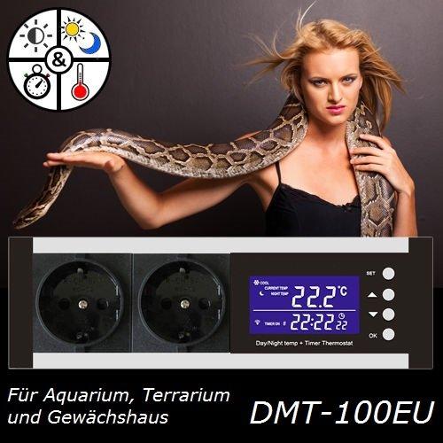 Digitaler Dimmer mit Timer Thermostat Thermoregler Temperaturregler Alarm Heizen/Kühlen Tag-/Nachtbetrieb Reptilien Terrarium Aquarium TMT-D100 TX3