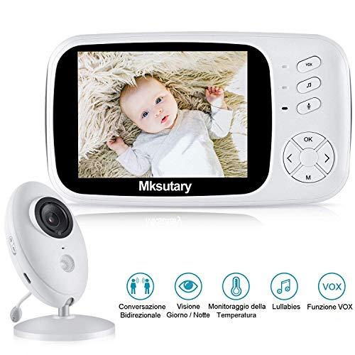 Baby Monitor, Mksutary Baby monitor video,3,5 Inch HD LCD Babyphone, Baby monitor with camera, VOX mode, Visione Notturna, Monitoraggio Della Temperatura, Ninnananna, Comunicazione bidirezionale
