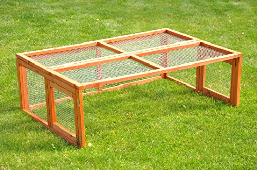 nanook Max – Freigehege zum Anbau für Kaninchenställe, klappbares und verriegelbares Dach, Farbe: natur – Größe S (123 x 80 cm) - 2