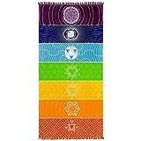 beiguoxia Rainbow Stripe tapiz Bohemia colgante de pared manta Yoga Mat Toalla de playa de verano