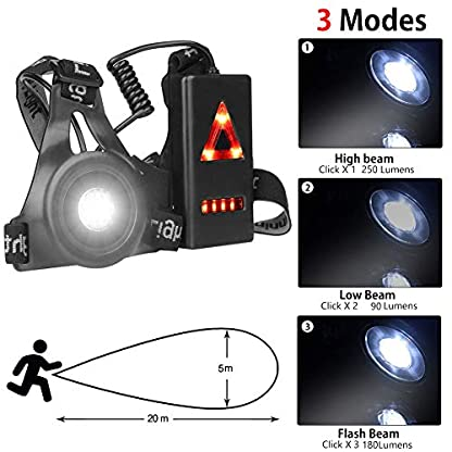 BACKTURE Chest Running Light, USB Rechargeable LED Running Night Light Waterproof Running Torch with 3 Lighting Modes for Runners, Joggers, Outdoor Sport, Walking, Fishing, Camping, Hiking, Climbing 3