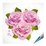 Fliesenaufkleber für Bad und Küche - 20x20 cm - Motiv Rosenstrauß - 6 Fliesensticker für Wandfliesen