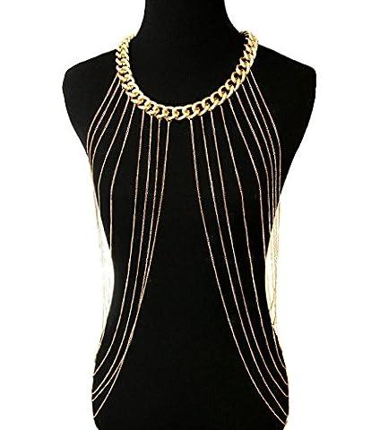 MSNHMU Fashion Harness Quaste Körper Kette Bikini Beach Sklave Halskette,Gold-L