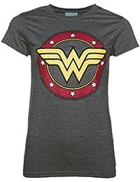 TruffleShuffle Marga de Carbn de Lea de la Mujer Maravilla Mujer crculo Logo t Shirt