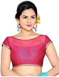 Studio Shringaar Wedding Classy Pink Solid Short Sleeve Non-Padded Blouse