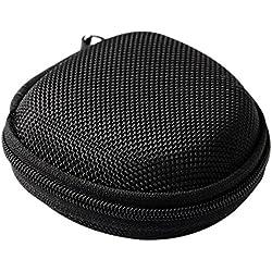 Hosaire Housse Protection pour casque à écouteurs Pochette Case avec fermeture Ronde Housse Portable de Voyage Pour casque à écouteurs,Chargeur, Câble USB, Avec une poche nette à l'intérieur-Noir