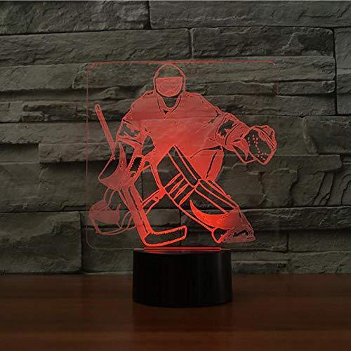 7 farbwechsel schlafzimmer schlaf beleuchtung 3D eishockey torwart modellierung schreibtisch lampe LED nachtlicht USB sport fan geschenk dekoration