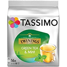 Tassimo Cápsulas de Té Twinings, Té Verde y Menta, Pack de 4, 4 x 16 T-Discs