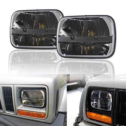 Esyauto 2x LED-Scheinwerfer, 12,7x 17,8cm, 17,8x 15,2cm, eckig, 40W Fernlicht/Abblendlicht für Jeep Wrangler YJ Cherokee XJ H6014H6052H60546054 (H6054 Led)