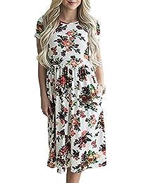 172571e83 ZiXing Vestido de Verano Cuello Redondo Manga Corta Estampado Floral Casual  Pocket Vintage Midi Vestido Largo