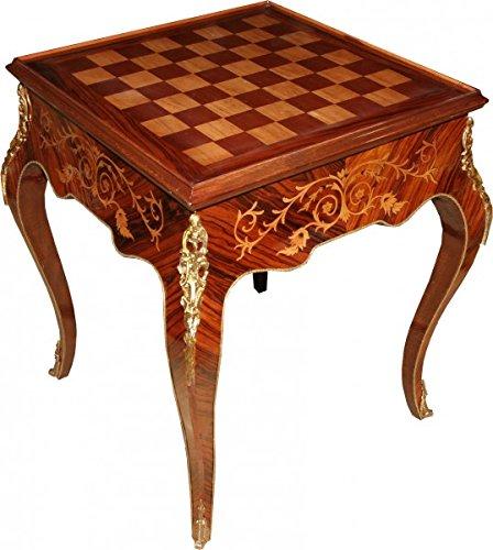Casa Padrino Art Deco Spieltisch Schach/Backgammon Tisch Mahagoni Braun Intarsien L 60 x B 60 x H 71 cm - Möbel Antik Stil Barock