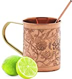 balancehome Handmade Pure Copper Mug with Strow & Cleaner