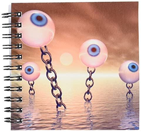 3dRose db_173469_3 Big Vision & Chains Surreal Series of Eyeballs with Gold Chains Mini Notepad, 4 by