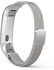 MoKo Fitbit Alta / Alta HR Correa - Reemplazo SmartWatch Band de Reloj de Acero Inoxidable Milanese Bucle Hebilla Magnético de Cierre Pulsera Accesorios para Fitbit Alta / Alta HR Smart Fitness Tracker, Plata