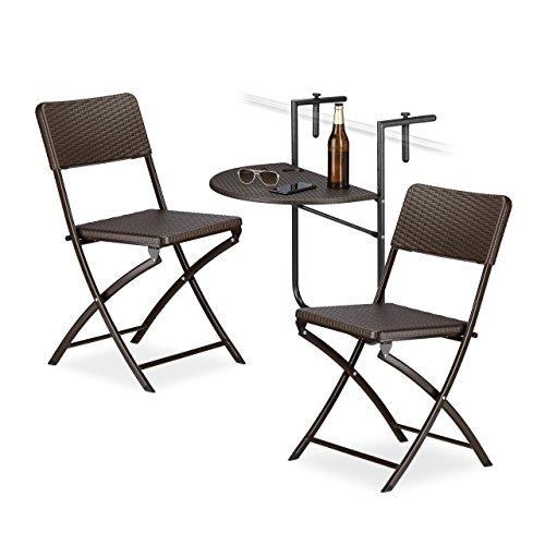 Relaxdays 3 TLG. Sitzgruppe Balkon Bastian, Balkonhängetisch, 2 Klappstühle, klappbar, Tisch höhenverstellbar, Rattan-Optik, braun