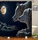chenyuuu Anime Wind Wolf Mond Wolke Schöne Duschvorhang, Wasserdicht, Schnell Trocknend, Lichtecht, Leicht Zu Reinigen, 12 Haken. 180X180Cm