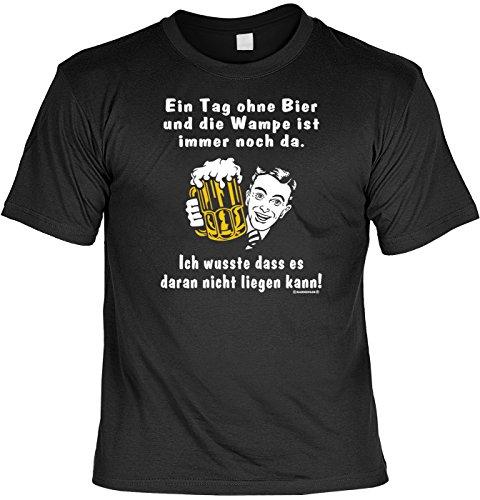 Trink/Spaß/Fun-Shirt Rubrik lustige Sprüche-Shirt: Ein Tag ohne Bier und die Wampe ist immer noch da. - witziges Geschenk Schwarz