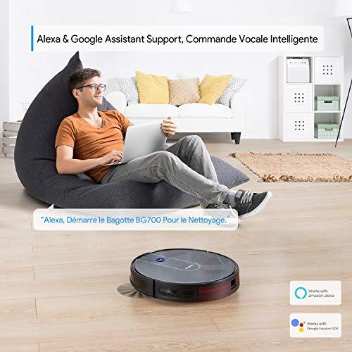 Aspirateur Robot BG700,Bagotte Robot Aspirateur Laveur Connecté Wi-FI et Alexa,1600 Pa de Puissance d'aspiration,Super Minceur 6.9cm pour Poils d'animaux,Tapis et Sols Durs