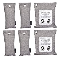 LA BELLEFÉE Natural Air Purifying Bags Reusable Bamboo Activated Charcoal Air Freshener Car Air Dehumidifier, Deodorizer and for Home, Shoes, Refrigerator, Toilet, Car - 6 packs (2 x 200 g,4 x 75 g)