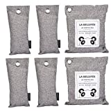 LA BELLEFÉE Air Purifying Bags Bamboo Charcoal Bag Air Freshener for Home Shoes Refrigerator Toilet Car 6 packs (2x200g,4x75g)