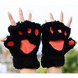 1 Paar Nette Fingerlose Pfote Plüsch Handschuhe von MAXGOODS, Katze Bär Paw, aus Künstlich Faux Pelz für Frauen Damen - Schwarz