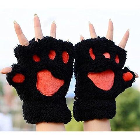 1 Paar Nette Fingerlose Pfote Plüsch Handschuhe von MAXGOODS, Katze Bär Paw, aus Künstlich Faux Pelz für Frauen Damen - (Einfache Katze-kostüme Für Frauen)
