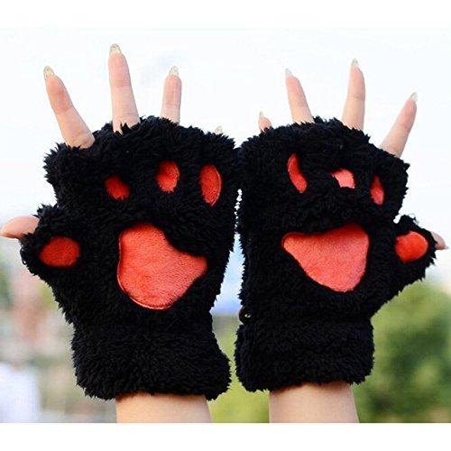 ose Pfote Plüsch Handschuhe von MAXGOODS, Katze Bär Paw, aus Künstlich Faux Pelz für Frauen Damen - Schwarz (Panda Bear-halloween-kostüm)