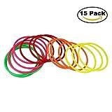 JTDEAL 15Pcs Jeux Anneaux en Plastique Coloré Jeu de Lancer d'anneaux pour la Vitesse et l'agilité Jeux de Plein Air pour Enfants et Adultes