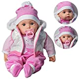 "The Magic Toy Shop 20"" Lifelike Large Size Soft Bodied Baby Doll Girls Boys Toy With Dummy & Sounds (White Coat)"
