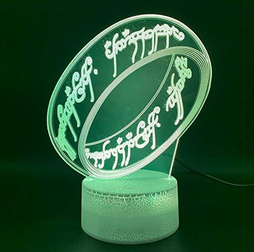 Neuheit Licht Der Herr Der Ringe Büro Wohnkultur Atmosphäre Für Kinder Kind Schlafzimmer Einzigartige 3D Optische Led Nachtlicht Lampe
