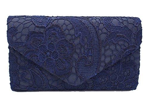 DNFC Damen Elegant Clutch Abendtasche mit langer Kette Handtasche Frauen Umhängetasche Spitze Tasche Party Hochzeit Kettentasche Clutch Tasche (Dunkel Blau)