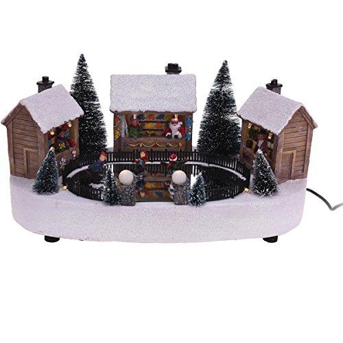 Koopman International b.v. Weihnachtsszene LED Buden Markt Weihnachten Winter Schnee Glitzer Schlittschuh, Modell/Charakter:Schlittschuhverleih_Weihnachtsmarkt