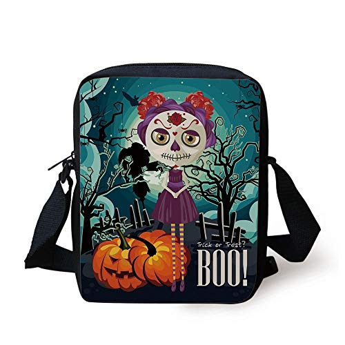 LULABE Halloween,Cartoon Girl with Sugar Skull Makeup Retro Seasonal Artwork Swirled Trees Boo Decorative,Multicolor Print Kids Crossbody Messenger Bag Purse (Cat-girl Halloween Make-up)