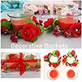 DECORATIVE BUCKETS Set Of 2 Scented Candle With 2 Glass Holder With Flower Ring (Multicolour)