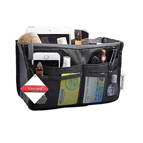 KOBWA Bolso Organizador de Bolso de Mano, Portátil, multibolsillo, Bolsillo para cosméticos para Mujer, Negro, 28 * 18.5 * 8.5cm