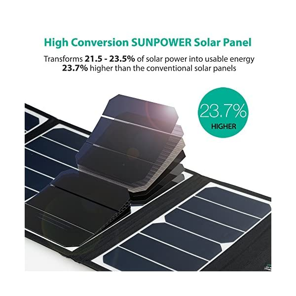 RAVPower UK RP-PC005(B) Solar Charger 24W Solar Panel with Triple USB Ports Waterproof Foldable for Smartphones Tablets… 2